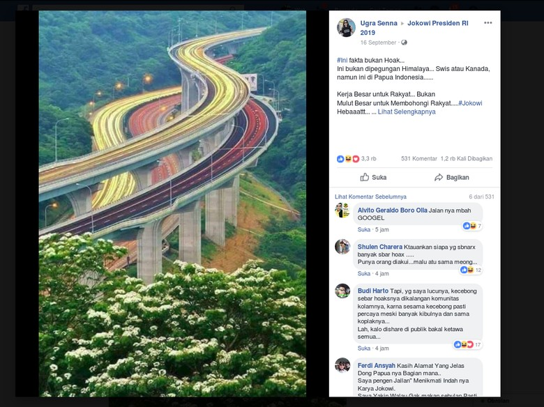 Viral, Foto Jalan Tol Bertingkat Bukan di Papua