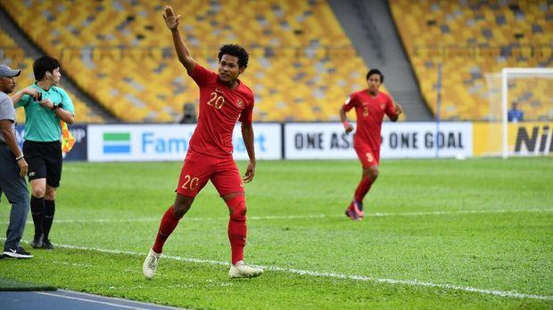 Penyerang Timnas Indonesia U-16, Bagus Kahfi, mencetak satu gol ke gawang Iran.