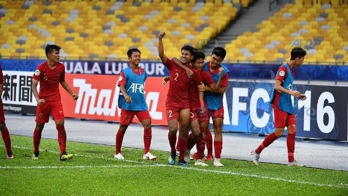 Bagas Kaffa merayakan gol Indonesia ke gawang Iran di Piala Asia U-16 2018 (Foto: Adam Aidil Padali/afc)