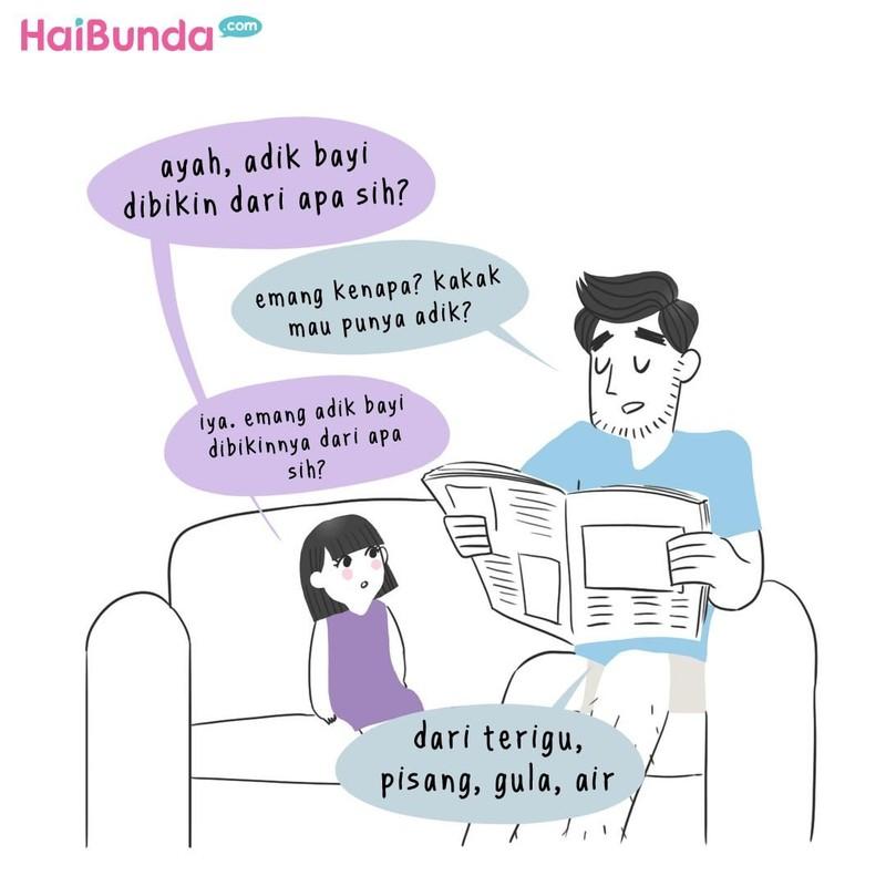 Pertanyaan kakak di komik ini soal adik bayi sempat bikin heboh orang serumah. Bunda punya pengalaman apa terkait pertanyaan polos dari si kecil?