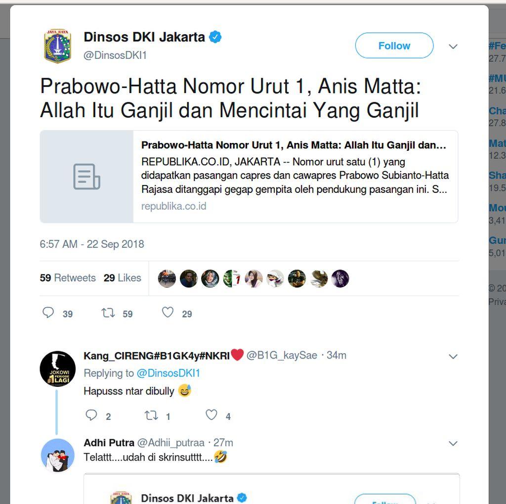 Twitter Dinsos DKI Posting Berita 2014, Prabowo-Hatta Nomor Urut 1