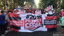 Kampanye 2019PilpresCeria di Surabaya, Bunga dan Stiker Dibagikan