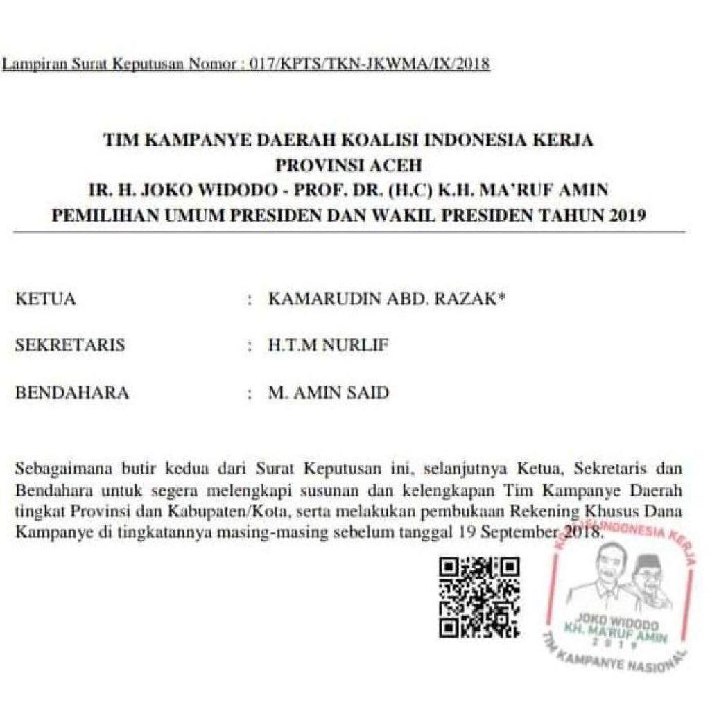 Beredar 2 SK Tim Kampanye Jokowi di Aceh