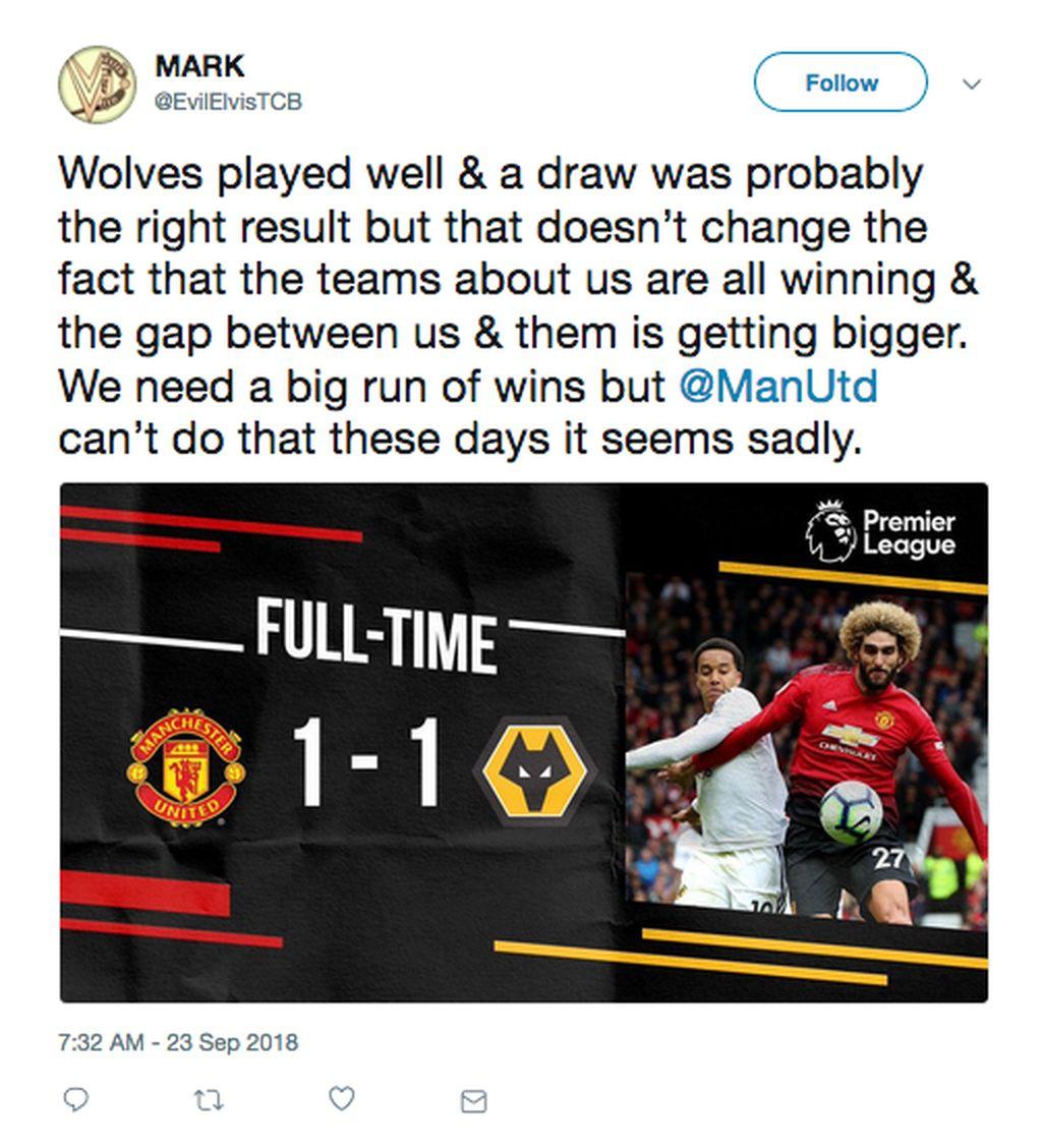 MU diimbangi Wolves 1-1 di Old Trafford walaupun sempat mampu unggul lebih dulu. (Foto: Twitter)