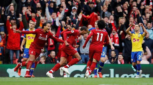 Liverpool menang 3-0 atas Southampton pada pertemuan pertama di Liga Inggris musim ini.