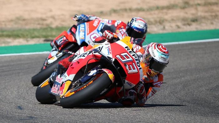 Marc Marquez menjuarai MotoGP Aragon 2018, Minggu (23/9/2018). (Foto: Heino Kalis/Reuters)