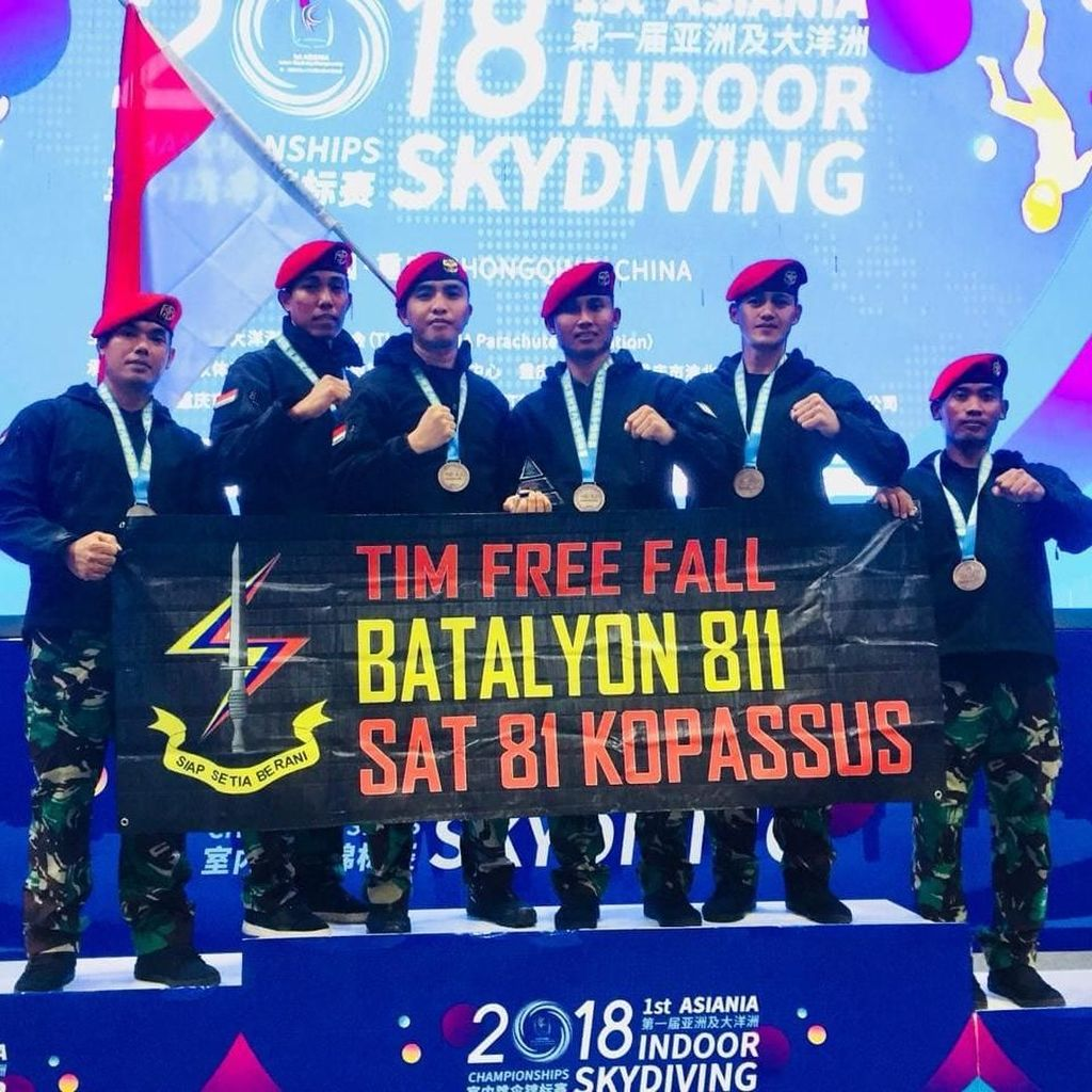 Kopassus Raih Posisi Ketiga di Ajang Skydiving Internasional