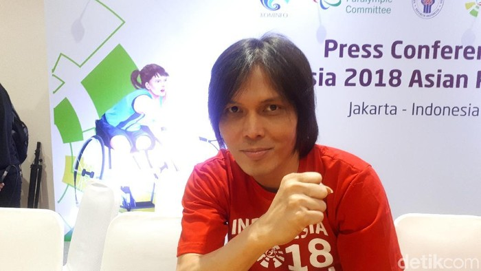 Once Mekel saat menghadiri konferensi pers Asian Para Games 2018. Foto: Mercy Raya/detikSport