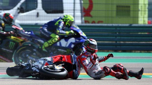 Sebelum kecelakaan di Thailand, Jorge Lorenzo juga mengalami insiden di Aragon.