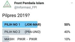 Jokowi-Maruf Menang di Pollingnya, FPI: Akun Kami Di-banned