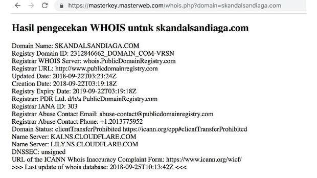 Situs Skandal Sandiaga Dibuat Sehari Usai Pengambilan Nomor