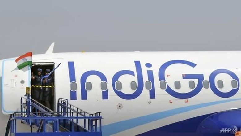 File photo of an IndiGo plane. (Photo: AFP/Noah Seelam) Read more at https://www.channelnewsasia.com/news/asia/drunken-man-trying-enter-cockpit-charge-phone-indian-plane-10759928