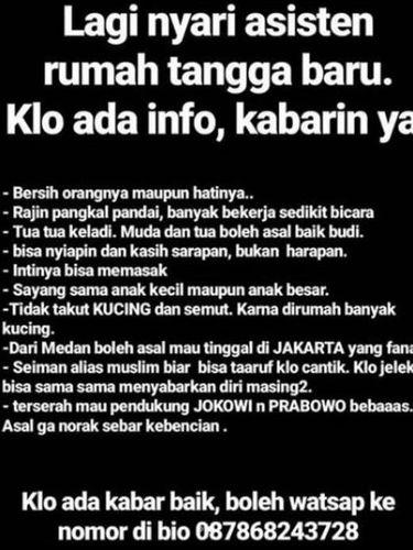 Babe Cabita Cari ART, Tak Peduli Pendukung Prabowo atau Jokowi