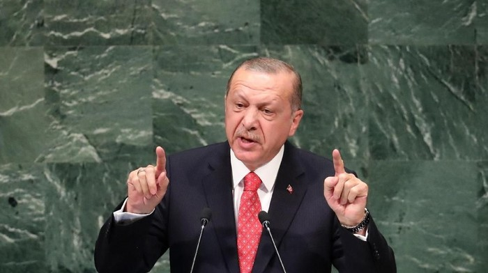 Turkeys President Recep Tayyip Erdogan addresses the 73rd session of the United Nations General Assembly at U.N. headquarters in New York, U.S., September 25, 2018. REUTERS/Carlo Allegri