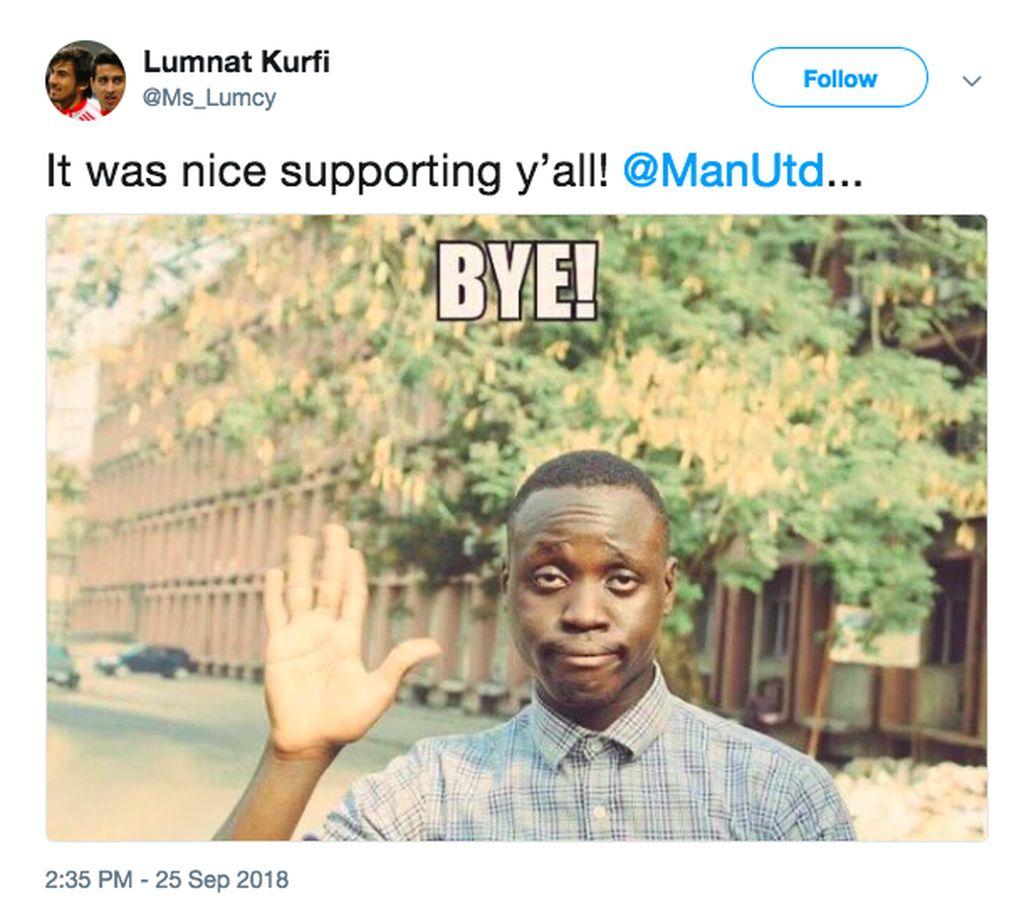 Fans ini memutuskan tidak lagi jadi suporter Manchester United. Bye, katanya. Foto: istimewa