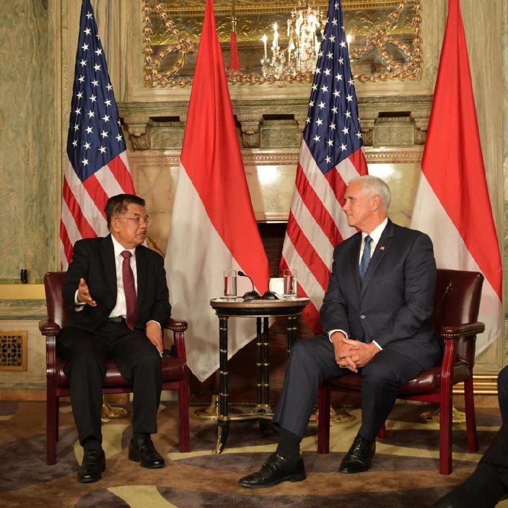 Jelang 70 Tahun Hubungan RI-AS, JK Temui Mike Pence di New York