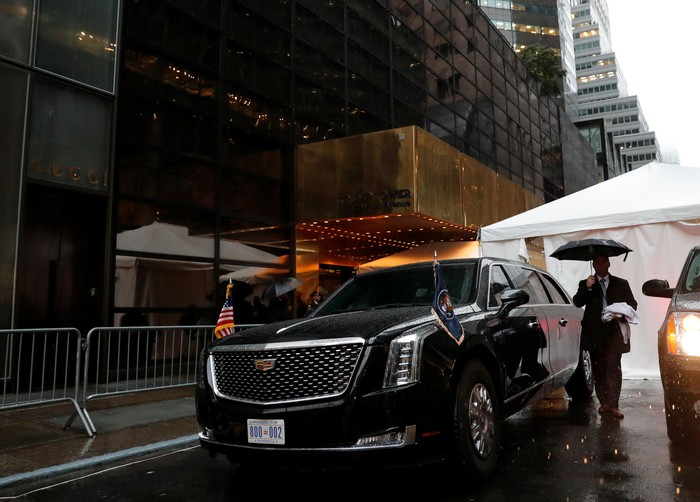 U.S. President Donald Trumps brand new version of the General Motors built Cadillac presidential limousine known as