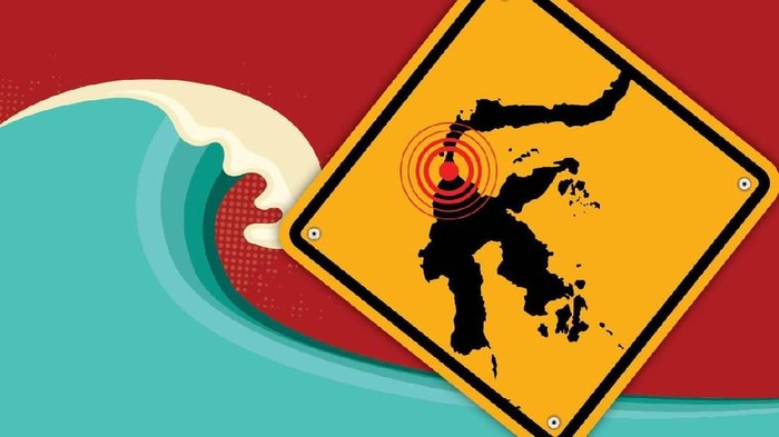 Foto: Ilustrasi gempa Donggala dan tsunami Palu (Nadia Permatasari/detikcom)