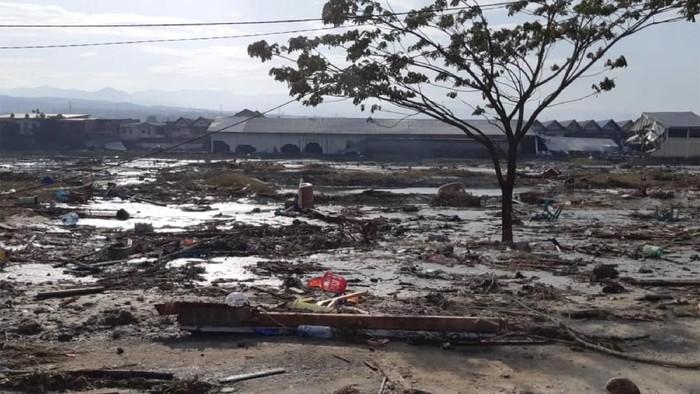 Penampakan pesisir pantai di Palu setelah terjadi tsunami (Foto: Antara Foto)