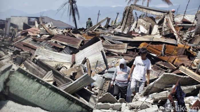 Balaroa Palu hancur akibat gempa. (Pradita Utama/detikcom)