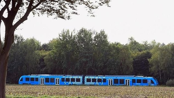A hydrogen-powered train, by French train maker Alstom, drives near Bremervoerde, Germany, as it enters service on September 16, 2018. (Photo by Patrik STOLLARZ / AFP)PATRIK STOLLARZ/AFP/Getty Images