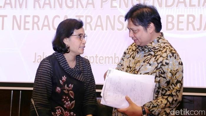 Menperin Airlangga Hartarto dan Menkeu Sri Mulyani bertemu di Jakarta, September 2018