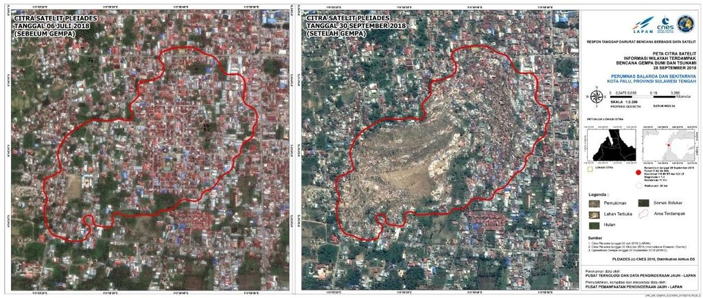 Foto ini diambil pada 30 September. Terlihat Perumnas Balaroa sebelum dan sesudah gempa. Foto: LAPAN