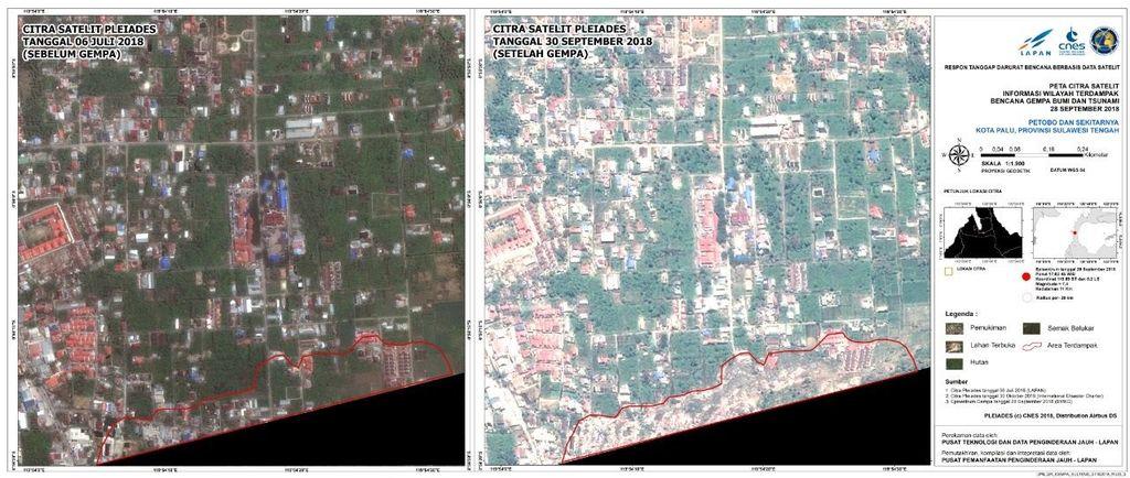 Foto kondisi daerah Petobo saat sesudah dan sebelum bencana tsunami. Foto: LAPAN