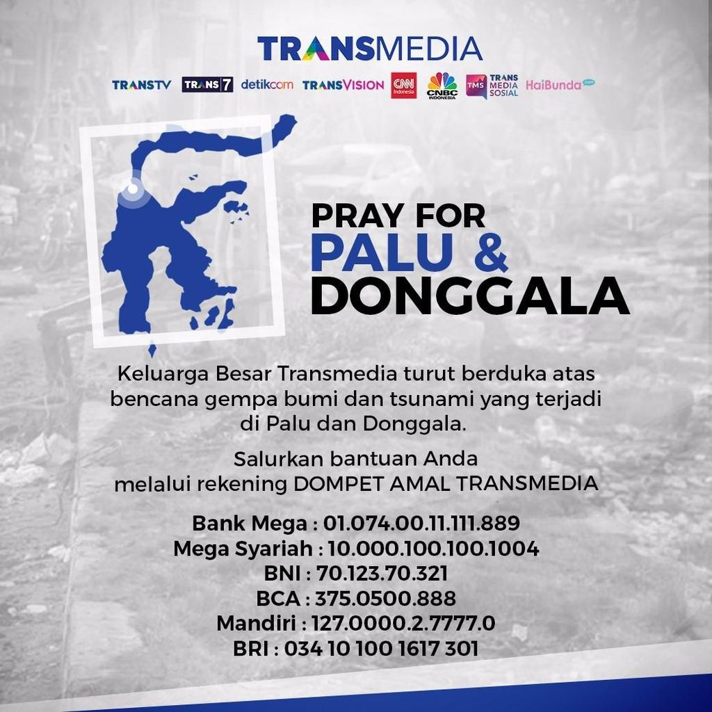 Mari Bantu Sulteng, Donasi Dompet Amal Transmedia Capai Rp 7,7 M