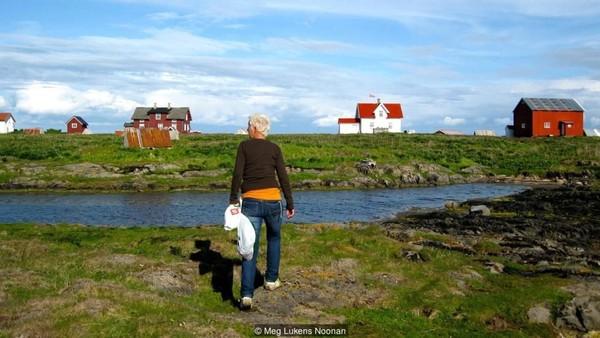 Perjalanan kapal sekitar 1 jam melintasi Laut Norwegia dari Vega ke Lanan. 8-10 penduduk dikenal sebagai fuglevokterne (penjaga burung) yang menyediakan tempat perlindungan ratusan eider (bebek laut di utara Eropa, Amerika Utara dan Rusia) untuk bersarang setiap bulan Mei (Meg Lukens Noonan/BBC Travel)