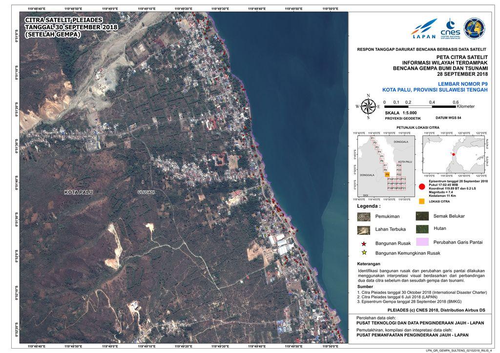 Melalui pantauan citra satelit, tercatat 5.000 bangunan rusak. Foto: LAPAN