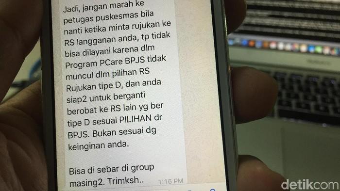 Viral informasi tentang rujukan online BPJS Kesehatan (Foto: detikHealth)
