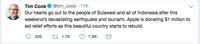 Giliran Apple Sumbang Korban Gempa Palu Rp 15 M