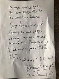 Surat permohonan maaf Ratna Sarumpaet kepada Prabowo Subianto.