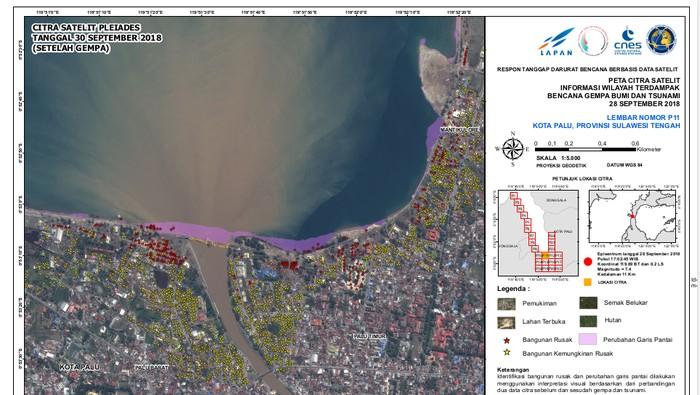 Bangunan rusak di Donggala dan Palu dipantau dari citra satelit (Foto: Dok. LAPAN)