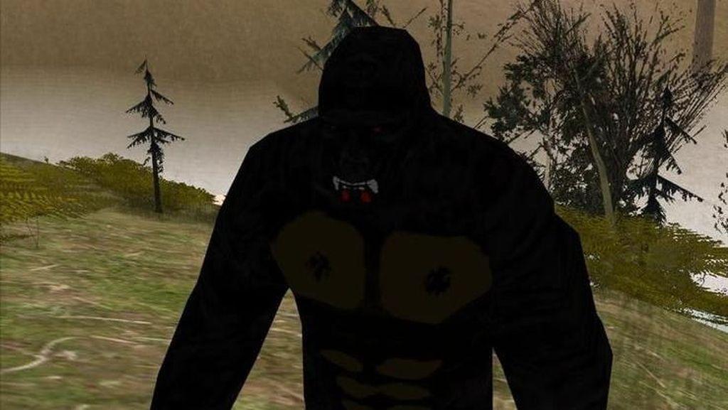 Bigfoot di Grand Theft Auto: San Andreas. Hoax sosok bigfoot dalam game besutan Rockstar ini sempat ramai. TheGamer.com pun menyebut para pemain sampai menelusuri tiap jengkal peta GTA: San Andreas untuk mencarinya. (Foto: Weebly.com via TheGamer.com)