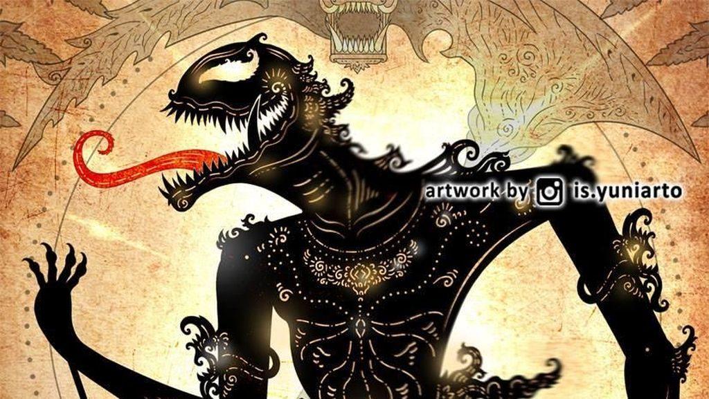 Antihero Venom dalam Bentuk Wayang Kreasi Is Yuniarto
