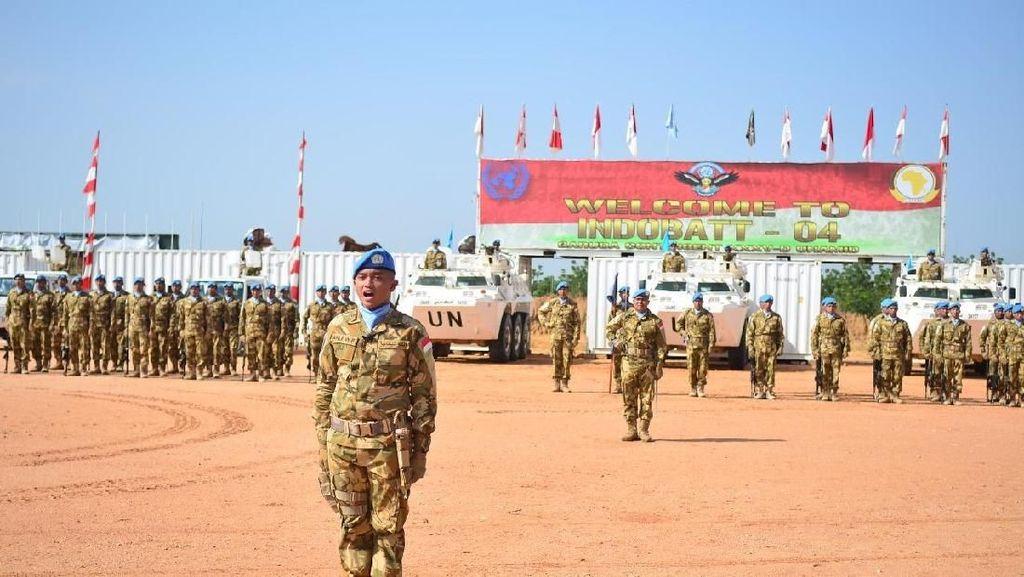 Begini Upacara HUT TNI Ke-73 ala Pasukan Penjaga Perdamaian di Sudan