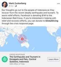 Komitmen Pendiri Facebook Mark Zuckerberg untuk membantu korban di Sulawesi Tengah.