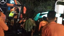 Ini Penyebab Bus Rombongan Peziarah Tabrak Tebing di Sarangan