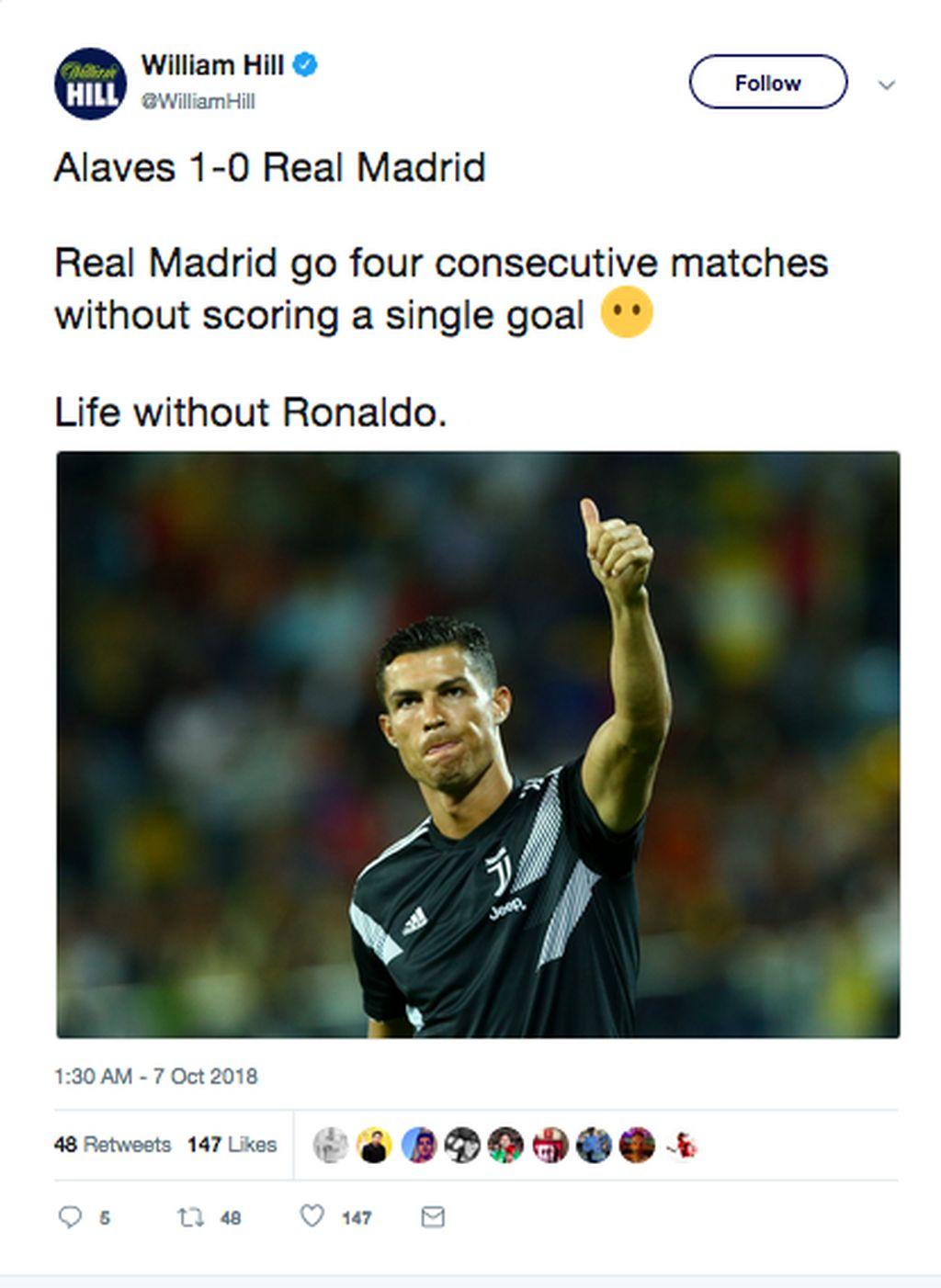 Real Madrid baru saja menela kekalahan 0-1 atas Alaves, membuat El Real tanpa kemenangan seraya tak kuasa bikin gol di empat laga terakhir. Inilah salah satu momen kehidupan Madrid selepas ditinggal Ronaldo. (Foto: Internet/Twitter)