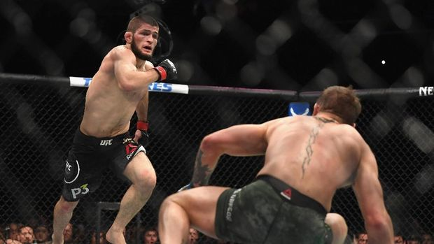 Khabib Nurmagomedov saat mengalahkan Conor McGregor. (