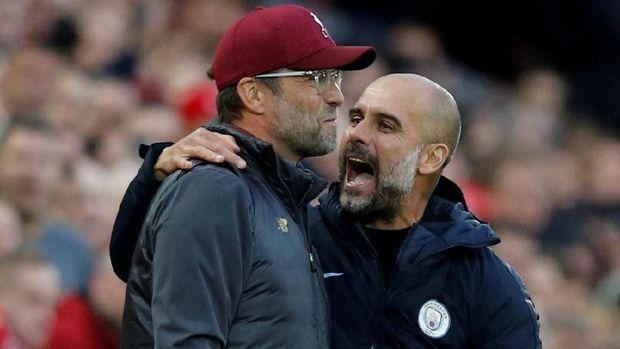 Juergen Klopp apes menghadapi Pep Guardiola di Liga Primer Inggris.