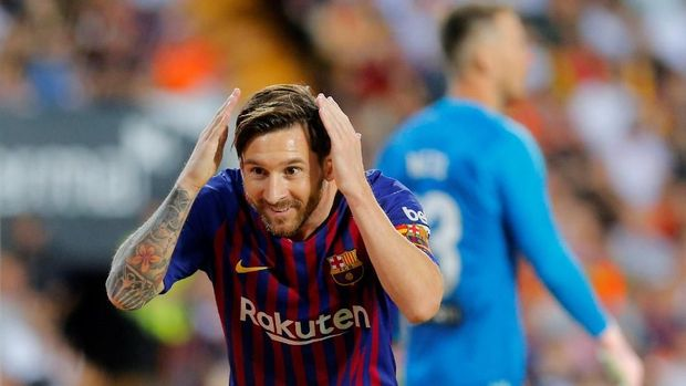 Lionel Messi mencetak tiga gol dalam dua laga terakhir melawan Valencia.