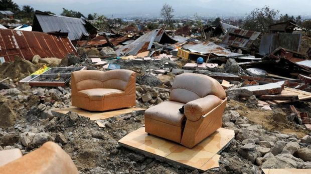 Dampak gempa di Balaroa, Palu, Sulteng, 4 October.