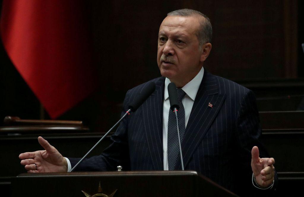FILE PHOTO: Turkish President Tayyip Erdogan addresses members of his AK Party in parliament in Ankara, Turkey, October 2, 2018. REUTERS/Umit Bektas - RC1BDF3344D0/File Photo