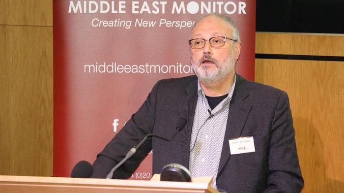 FILE PHOTO: Saudi dissident Jamal Khashoggi speaks at an event hosted by Middle East Monitor in London Britain, September 29, 2018. Picture taken September 29, 2018. Middle East Monitor/Handout via REUTERS/File Photo  ATTENTION EDITORS - THIS IMAGE WAS PROVIDED BY A THIRD PARTY