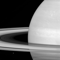 IN SPACE - JULY 21: In this handout image provided by the National Aeronautics and Space Administration (NASA), Saturns icy moon Mimas (lower L) is seen while looking toward the sunlit side of the planets rings, and was captured in red light with the Cassini spacecraft wide-angle camera on July 21, 2016. The rings, which are made of small, icy particles spread over a vast area, and are generally no thicker than the height of a house. The view was obtained at a distance of approximately 564,000 miles from Saturn. Between April and September 2017, Cassini will plunge repeatedly through the gap that separates the planet from the rings. The Cassini mission is a cooperative project of NASA, ESA (the European Space Agency) and the Italian Space Agency. (Photo by NASA/JPL-Caltech/Space Science Institute via Getty Images)