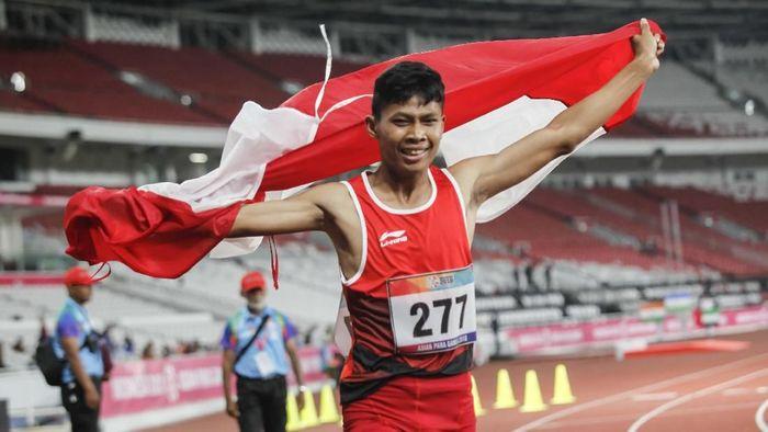 Sapto Yogo Purnomo meraih emas Asian Para Games 2018 kelima untuk Indonesia.  (Agoes Rudianto/INAPGOC)