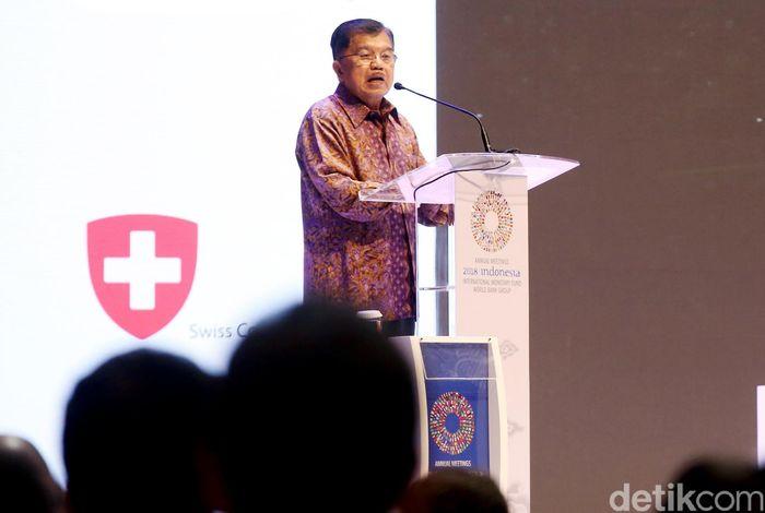 Wakil Presiden RI Jusuf Kalla saat membuka High Level Dialogue on Disaster Risk Financing dan Insurance (Dialog Tingkat Tinggi tentang Pembiayaan dan Asuransi Risiko Bencana), Rabu (10/10/2018).